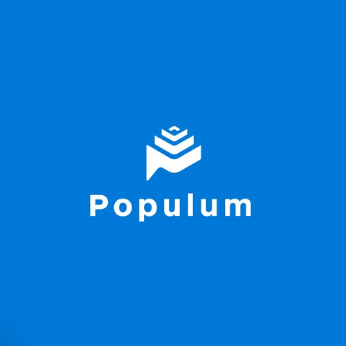 Letter P and Babel tower theme for Populum