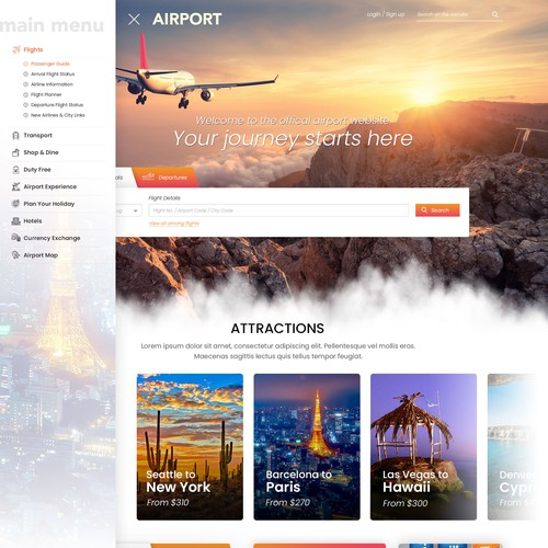Travel Airport Website Design