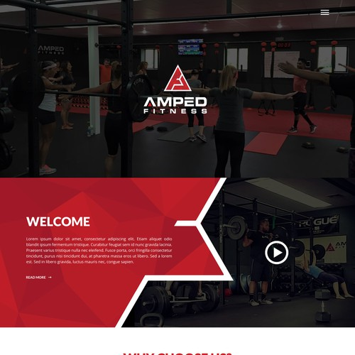 Homepage Design for Amped Fitness
