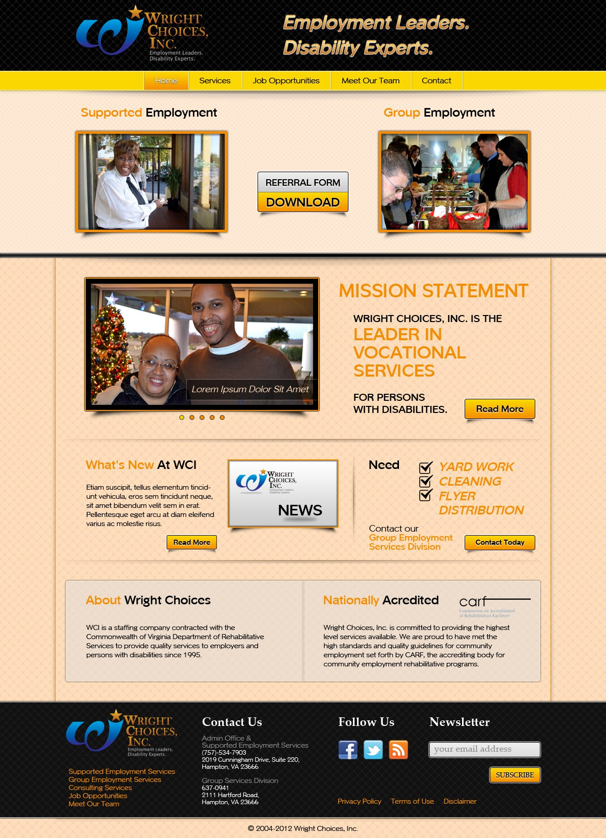 website design for Wright Choices, Inc.