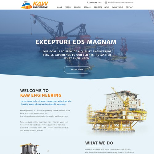Wordpress Theme Design for an engineering company home page
