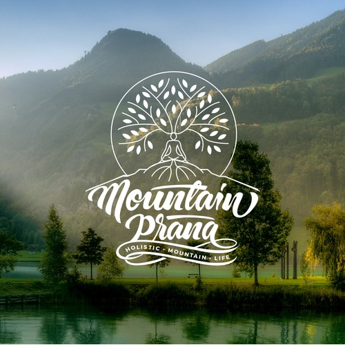 Capture the spirit of holistic mountain life in a logo for mountain prāna! products made from herbs and plants.