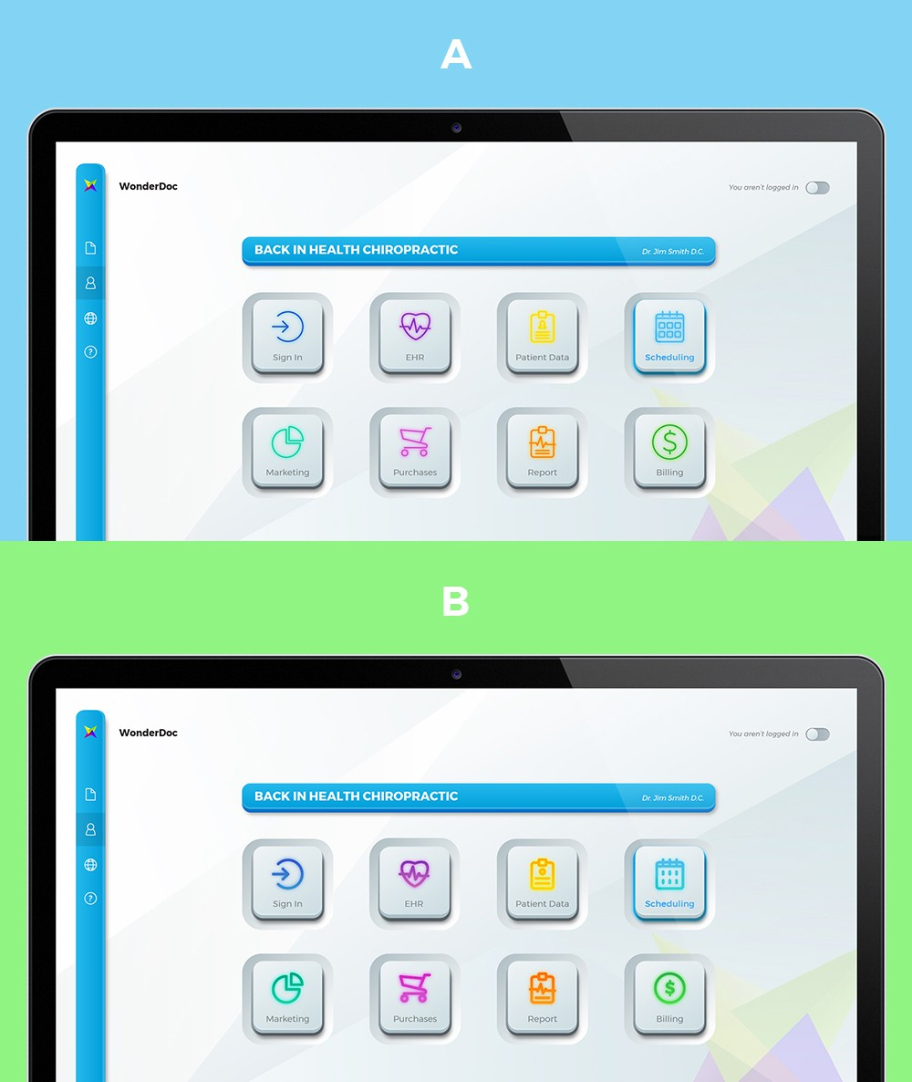 Design a technical looking home screen for medical software