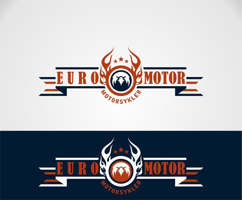 Create the next logo and business card for EuroMotor Motorcycles