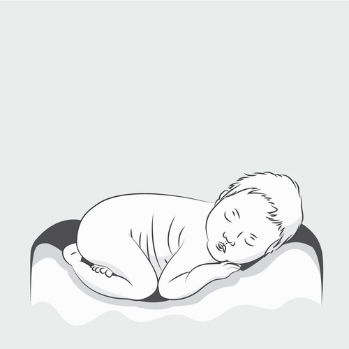 Monochrome Baby Illustration