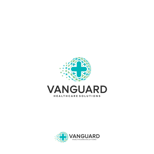 create logo for Vanguard Healthcare Solutions that reflects the cutting edge of healthcare consultin