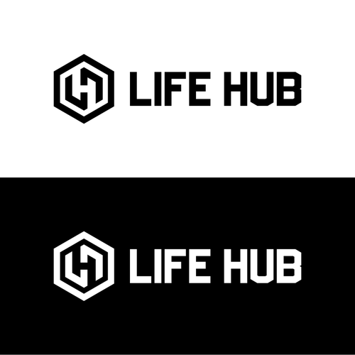 Create a STRONG, BOLD, clean logo for Life Hub that represents unity and progression for our Health and Fitness business