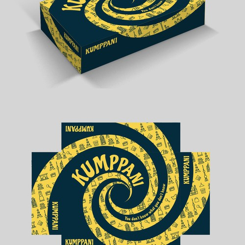 Kumppani card game box package.
