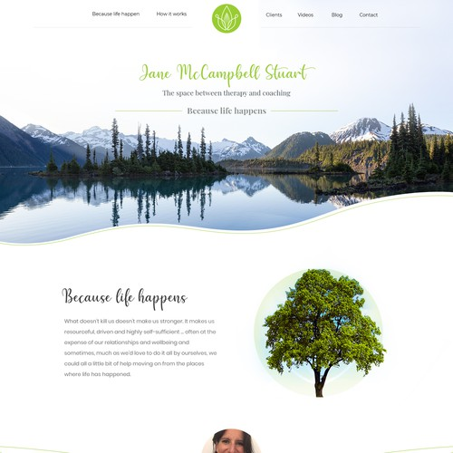 Home Page concept for Therapy Jane design