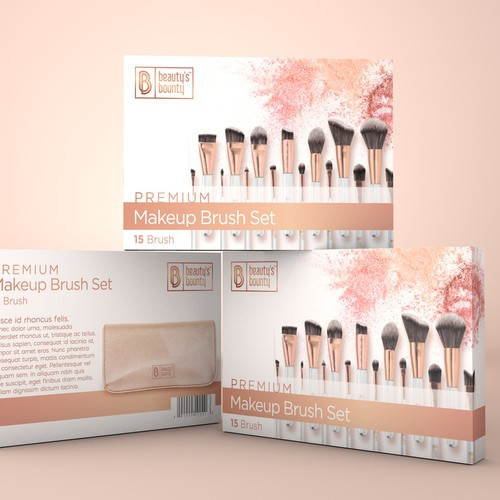 Luxury package design for makeup brush set