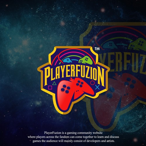 "LETS FU-SI-ON OUR GAMES !! illustration logo for gaming community site ""PLAYERFUZION"""