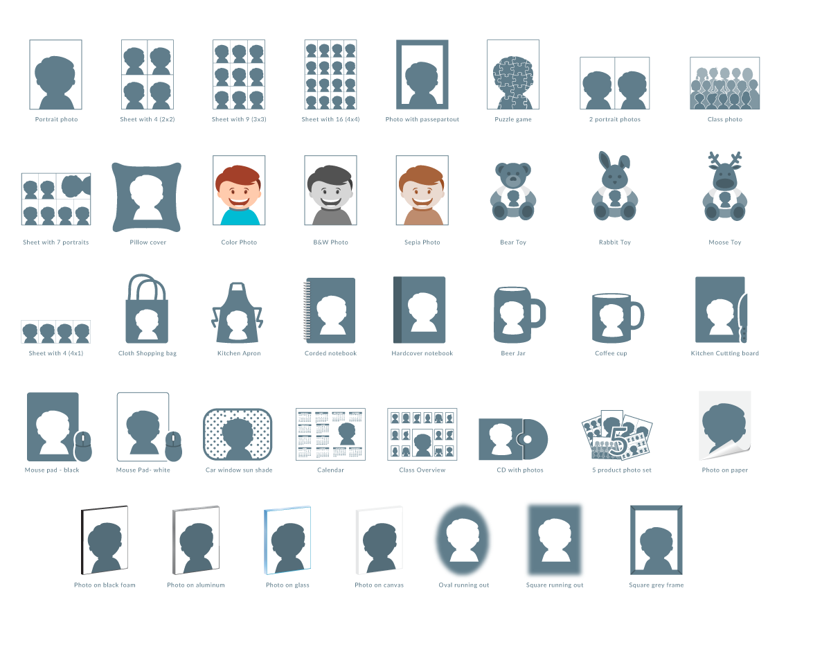 Creation of school photo product icons