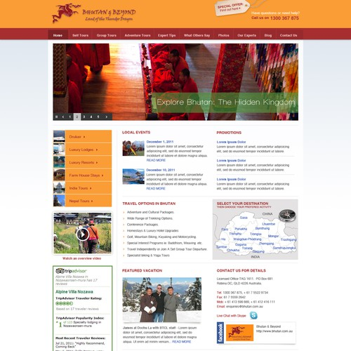 Bhutan & Beyond needs a new website design