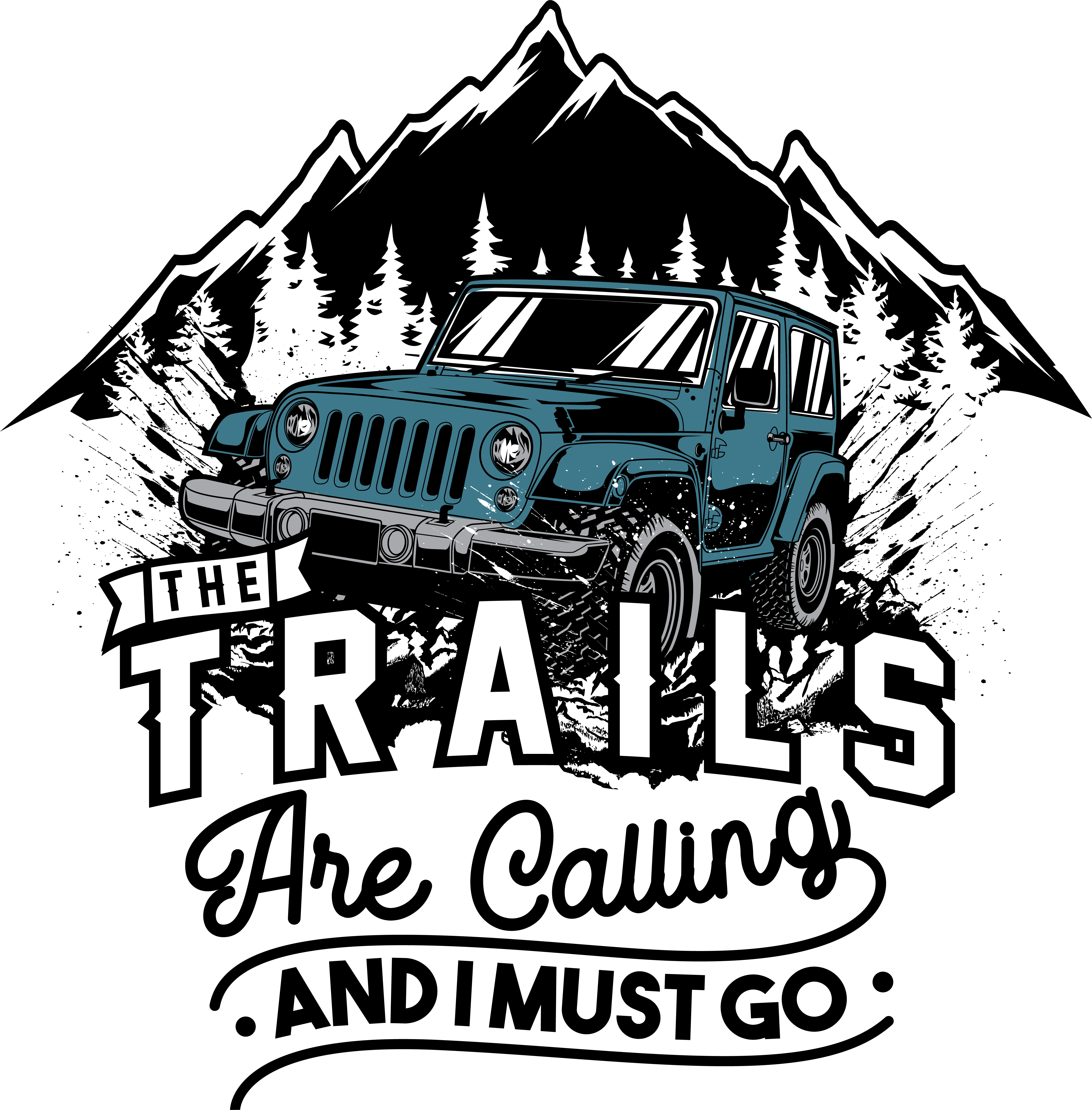 The Trails are Calling JEEP EDITION T-Shirt Design