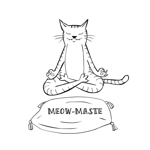 Funny yoga cat sketch for a t-shirt