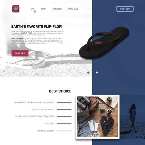 Home page concept for flip flop