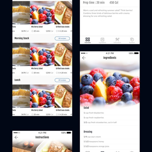 App design concept for diet plan