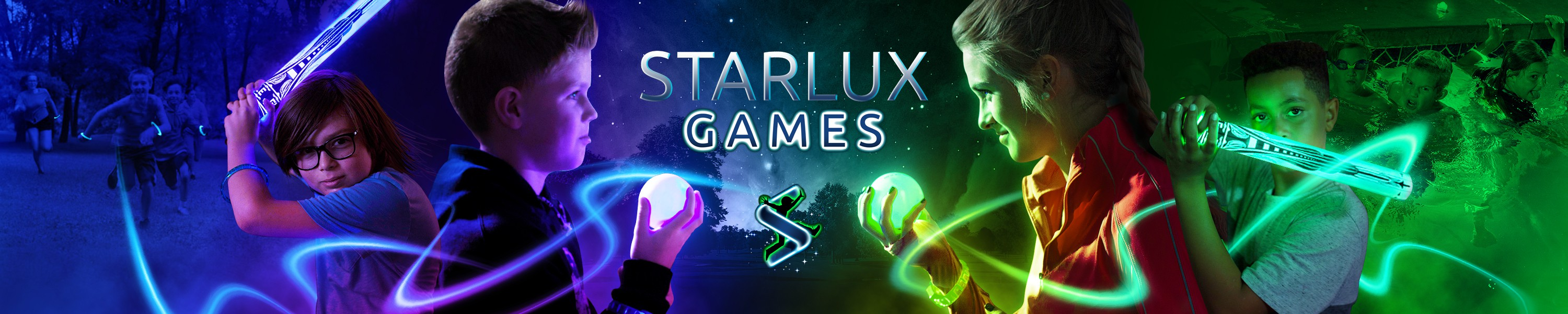 Create an image that radiate excitement for our glow-in-the-dark games