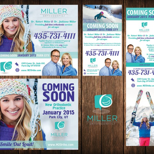 Create a unique print ad anouncing a new orthodontic practice to Park City Utah, ski town USA