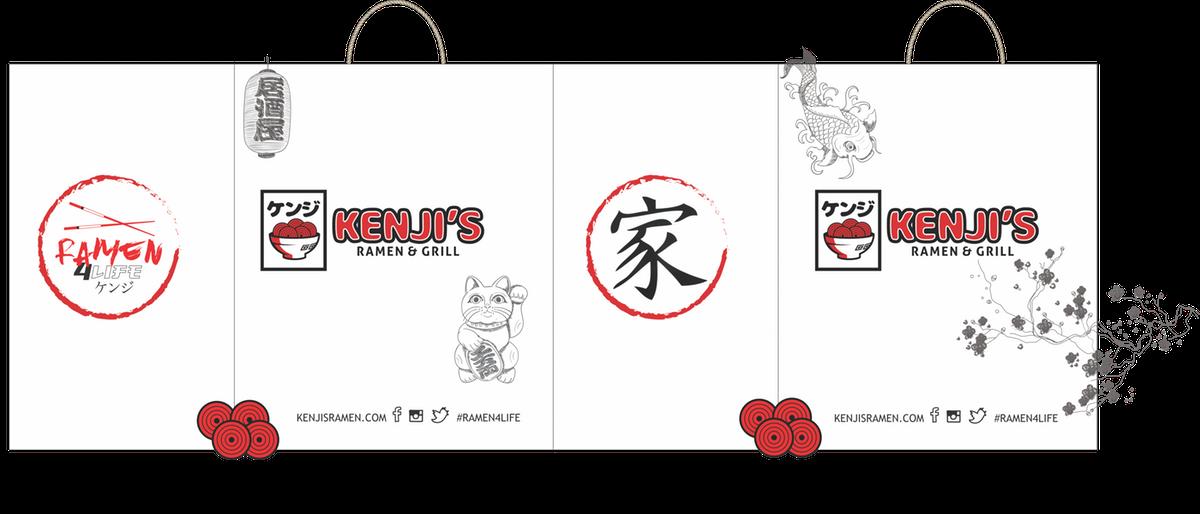 Kenjis Ramen to-go bags/Stickers