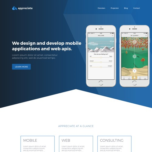 Mobile development agency website