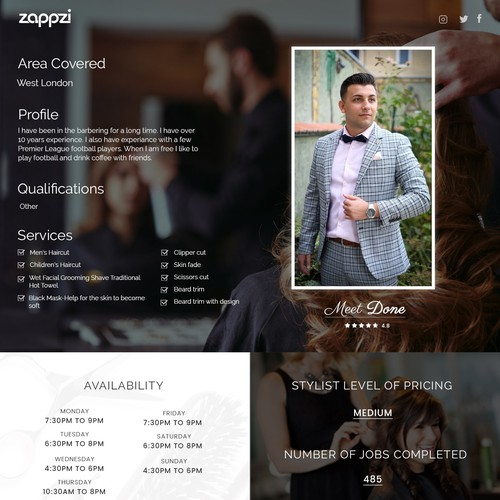 Design a New Stylist Profile Page