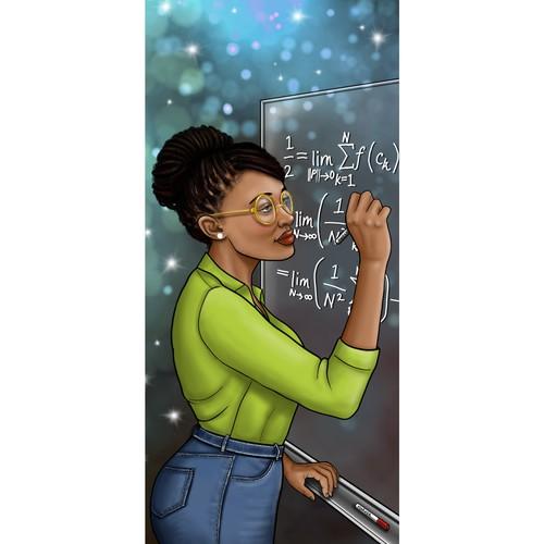 Mathematician Bookmark Illustration