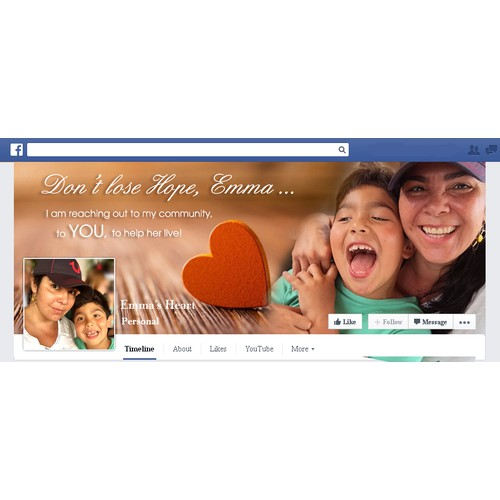 Facebook cover for Emma's Heart