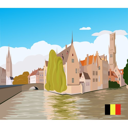 "City Illustration  ""Belgium"""