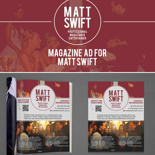 Magazine Ad for Matt Swift, professional Magician
