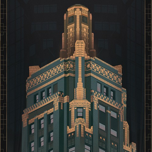 Create a glamorous art deco illustration for an exciting new hotel, St. Jane