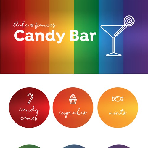 Signage/Icons for a Candy Bar at a Gay Wedding