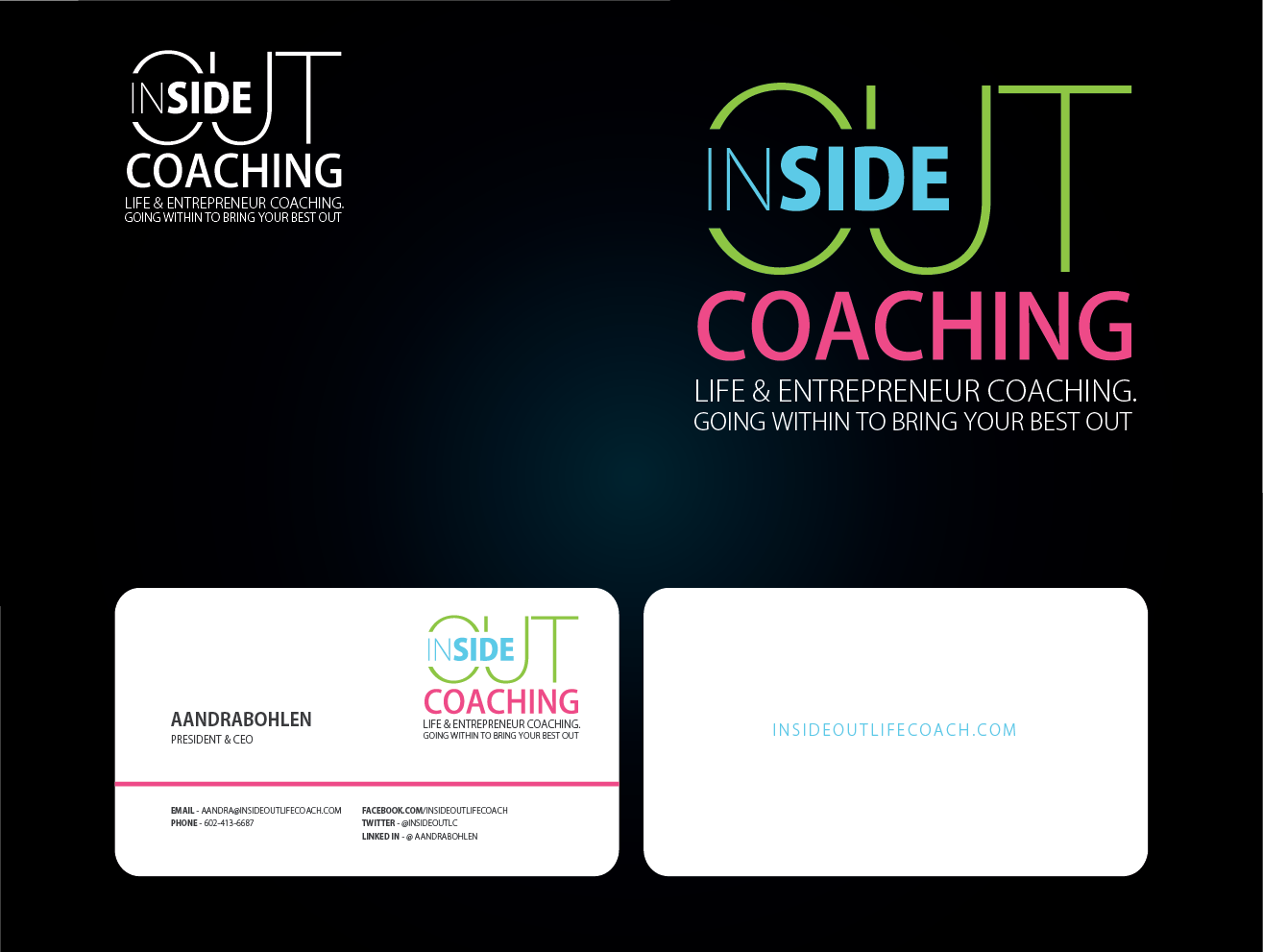 logo and business card for InsideOut Coaching