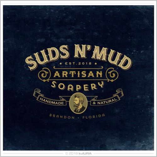 Vintage style logo for handmade artisanal soaps