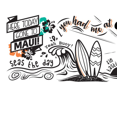 Hawaian Style Typography Wall Art for a Restaurant