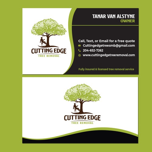 CUTTING EDGE Tree Removal Business card