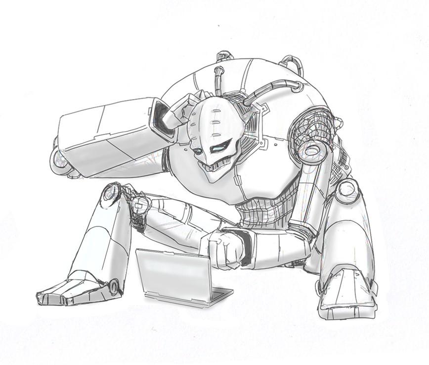 Evil robot illustration for Shape Security