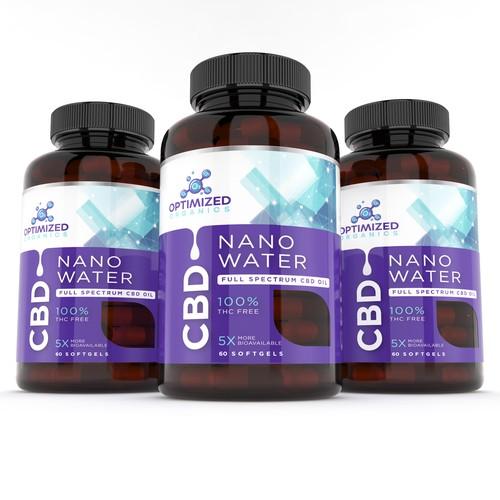 NanoWater CBD oil label design