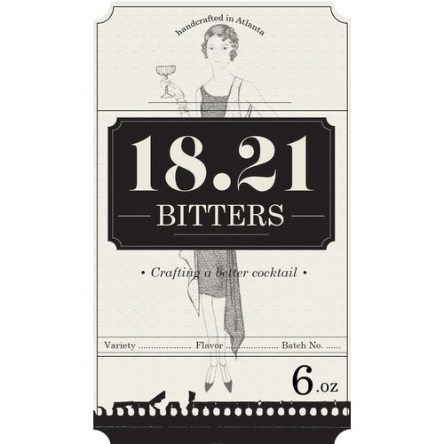 Prohibition style label for bitters