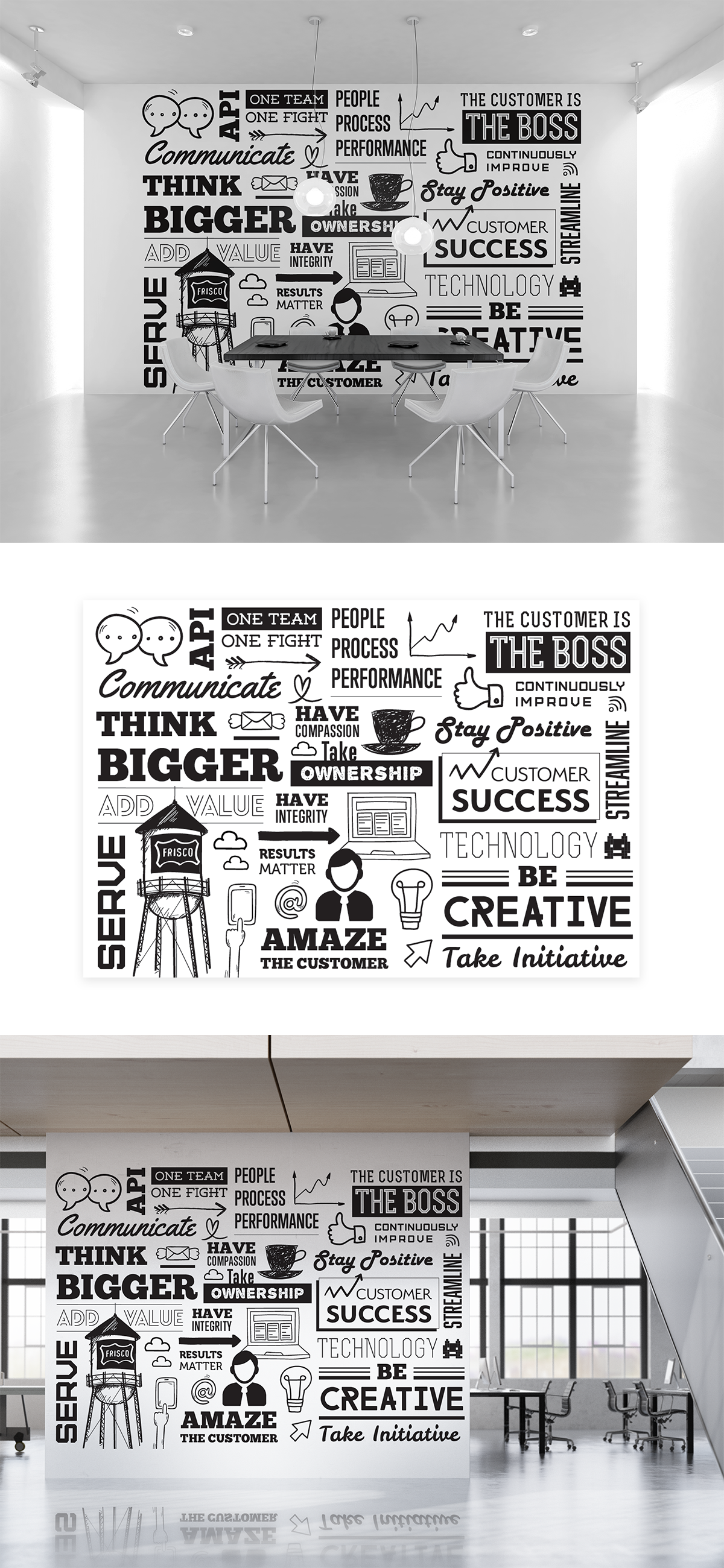 Fun collection of black & white doodle style images, blown up 4 a mural in our new loft style office