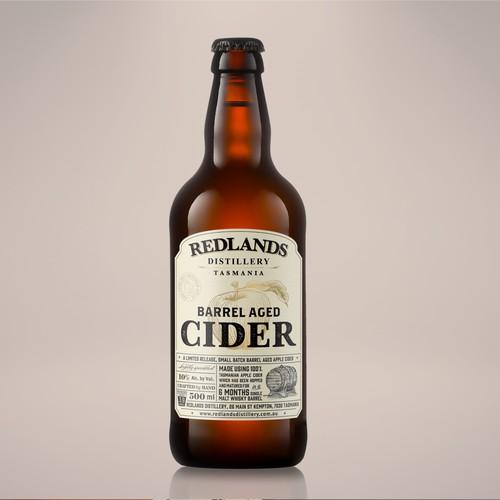 Whisky barrel aged cider bottle label