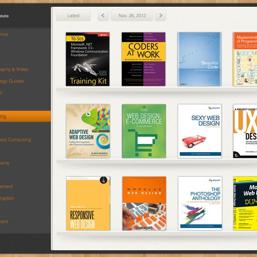 Design our iPad book store App for selling technical journals