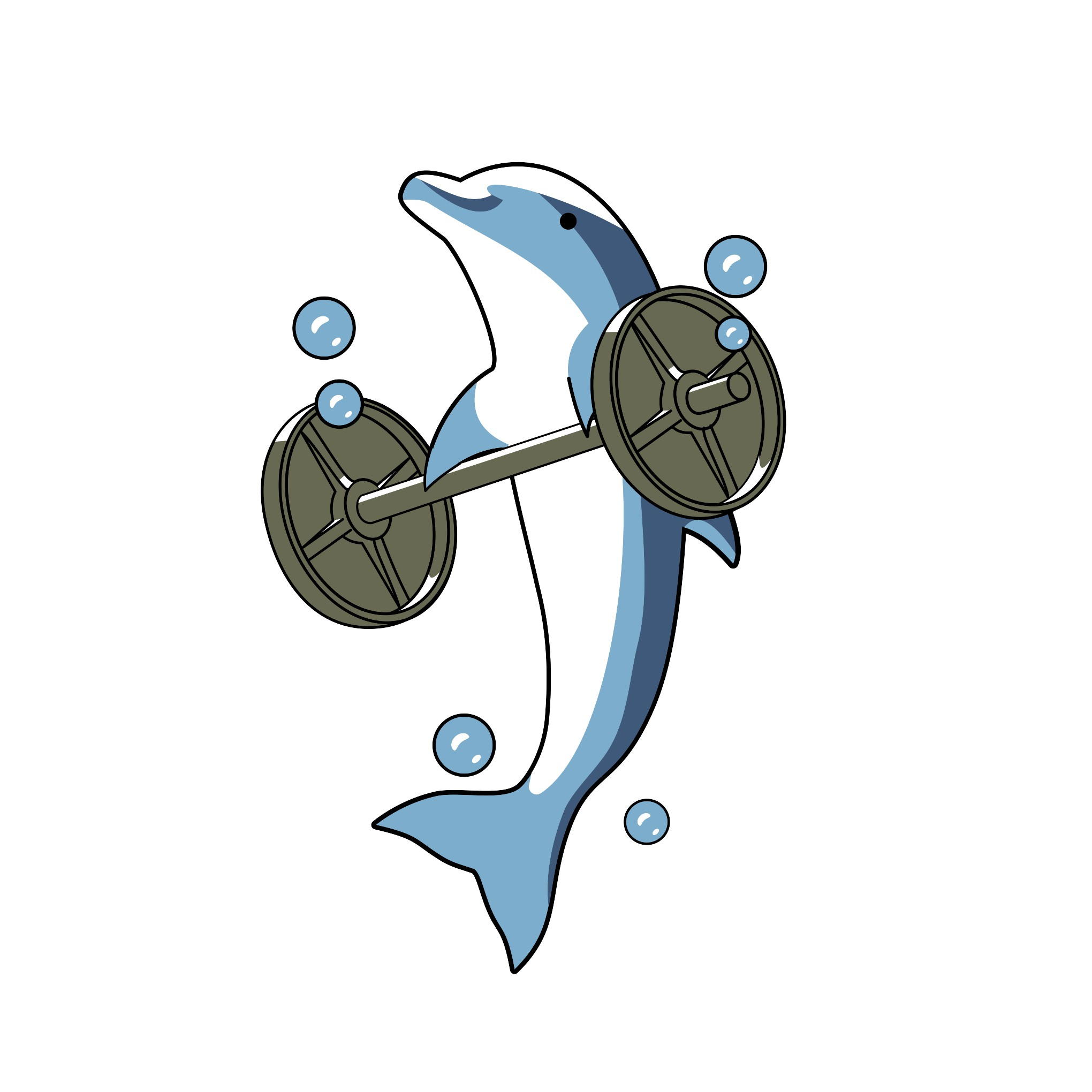A Dolphin Dead Lifting. Design a T-Shirt for our fitness company.