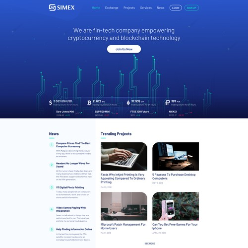 Web page for Cryptocurrency