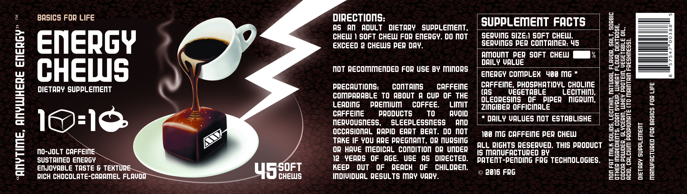 Create the Product Label for an all new Energy Chew!