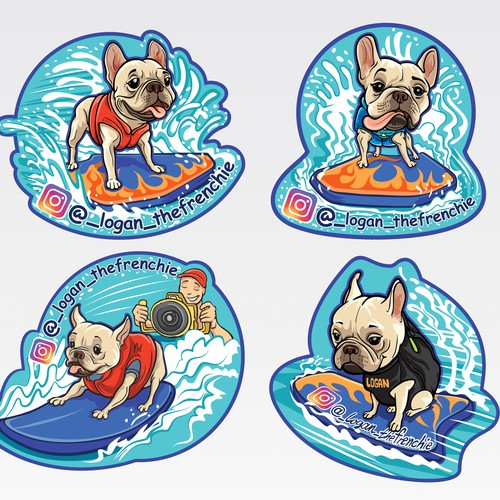 Logan the frenchie illustration stickers.