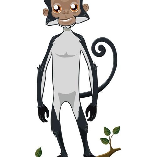 children's surfer Monkey character design