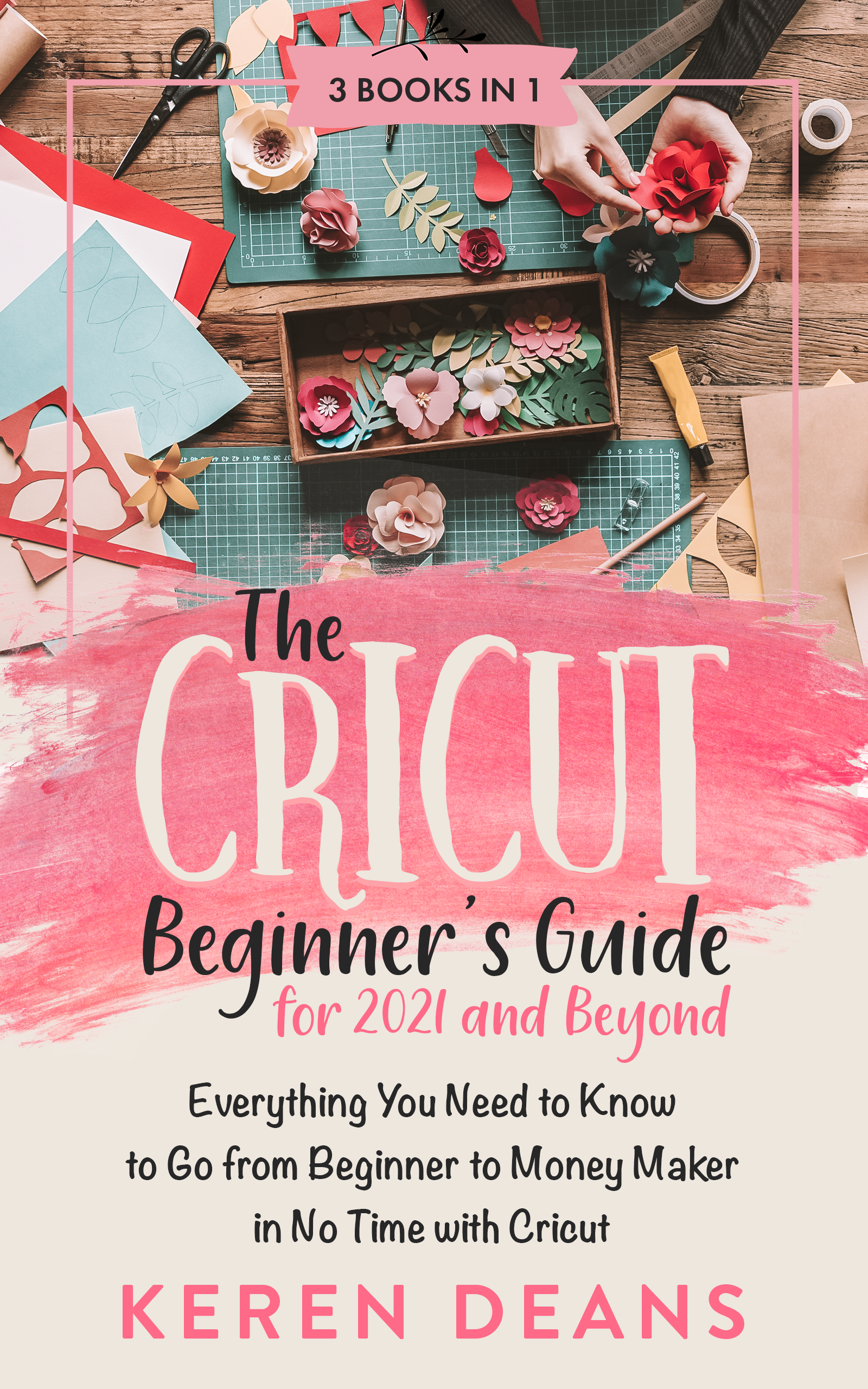 A  creative cover for a three book bundle about Cricut to appeal to American moms