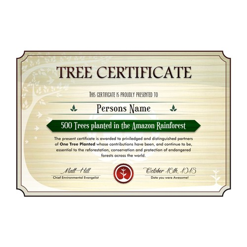 Certificate for One Tree Planted