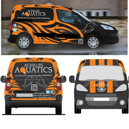 Create a great car sticker design for Achilles Aquatics